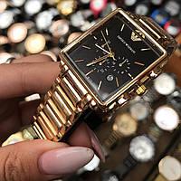 Часы Emporio Armani  мужские наручные в золоте + коробочка ( реплика )
