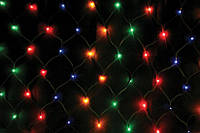 Разноцветная светодиодная сетка на 160 led-диодов, новогодняя гирлянда, питание 220в, размеры 1,5*1,5 м