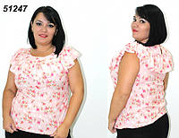 Жіноча блуза з оборкою 48,50,52,54,56, фото 1