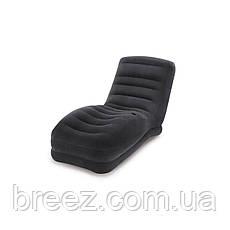 Надувное велюровое кресло-шезлонг Intex черное 170 х 86 х 94 см, фото 3