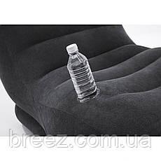 Надувное велюровое кресло-шезлонг Intex черное 170 х 86 х 94 см, фото 2