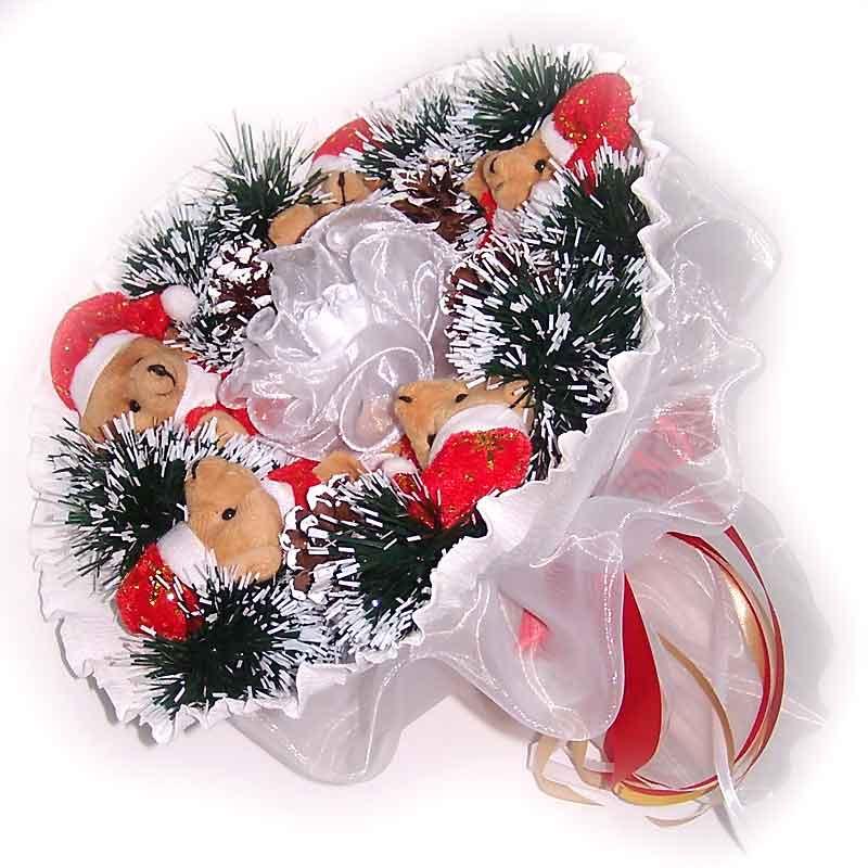 Букет из мягких игрушек Новогодний Мишки 5 белый