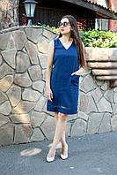 Летнее платье свободного силуэта с V-образным вырезом для кормящих мам