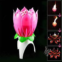 Музыкальная свеча лотос с фейерверком для торта в форме цветка