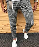 Брюки мужские Zara Зара в полоску серые(реплика)