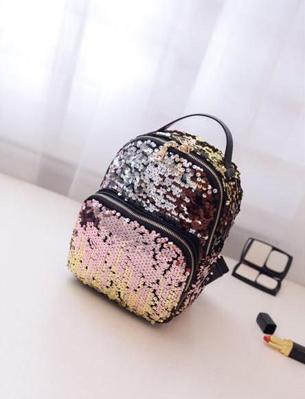 Стильный женский рюкзак с пайетками хамелеон