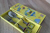 Персонаж губка боб на детской ложке с гравировкой имени