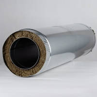 Дымоходная труба утепленная диаметром 130мм нержавеющем кожухе толщина 0,5мм/430