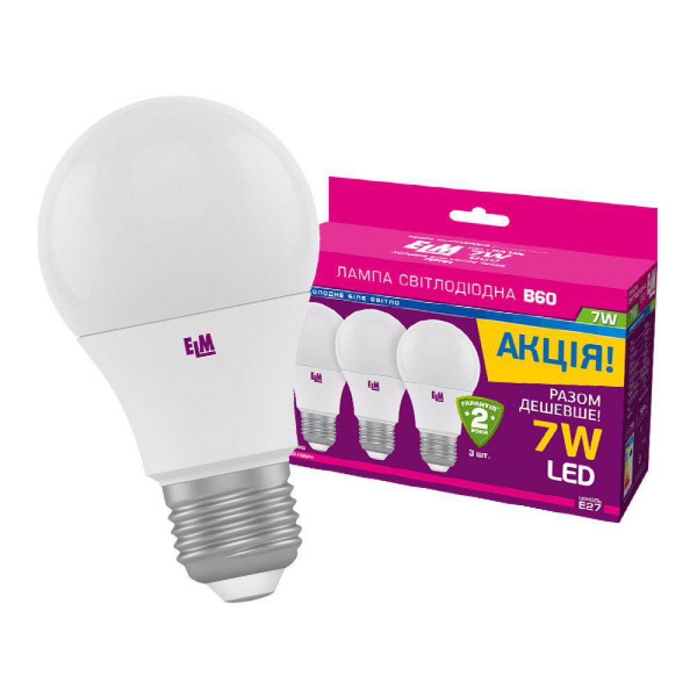 Светодиодная лампа ELM B60 7W PA10L E27 4000 3шт. (18-0140) Белый