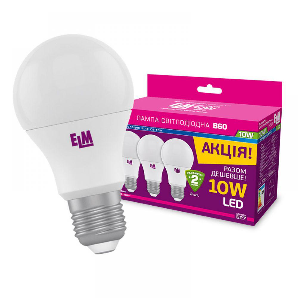 Світлодіодна лампа ELM B60 10W PA10L E27 4000 3 шт. (18-0099) Білий