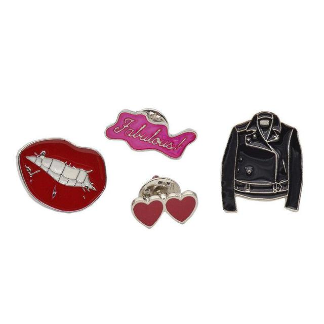значки длят джинсовой куртки, рюкзака, футболки, Скрещенные пальцы, Красные губы, Голубой глаз, Красная помада
