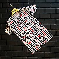 Мужская футболка Fila Фила с принтом черно-бело-красная (реплика)