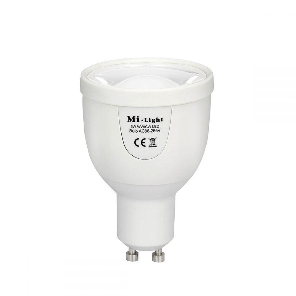 Світлодіодна лампочка MiLight диммируемая 5Вт GU10 Dual White LED Spotlight ССТ (2700-6500K) 220V