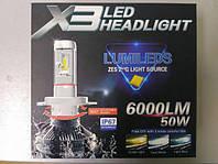 Лед лампы. LED лампы комплект X3 Н4 (ZES, 6000LM, 50W)