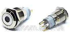 11-04-081. Кнопка антивандальная 16мм (OFF-ON), 5pin, 12V, с подсветкой, без фиксации