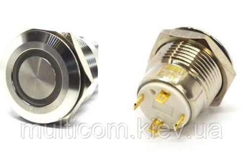 11-04-071. Кнопка антивандальная 16мм (OFF-ON), 4pin, 12V, с подсветкой, без фиксации