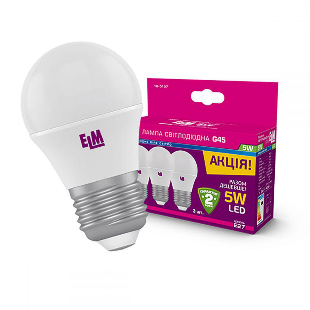 Светодиодная лампа ELM D45 5W PA10 E27 4000 3шт. (18-0157) Белый