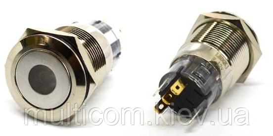 11-04-132. Кнопка антивандальная 19мм (OFF-ON), 5pin, 12V, с подсветкой, без фиксации