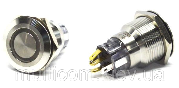 11-04-181. Кнопка антивандальная 22мм (OFF-ON), 5pin, 12V, под пайку, с подсветкой, без фиксации