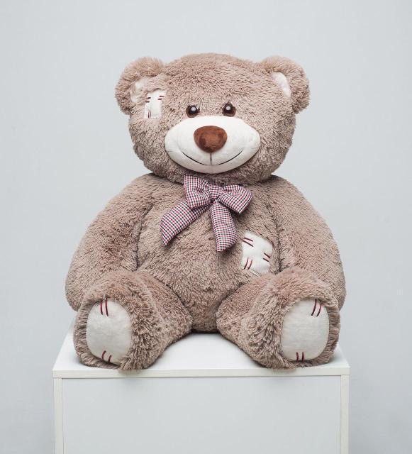 Плюшевий ведмедик Mister Medved з латками Капучіно 100 см