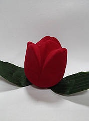 "Футляр для кольца бархатный ""Тюльпан"" красный 151"