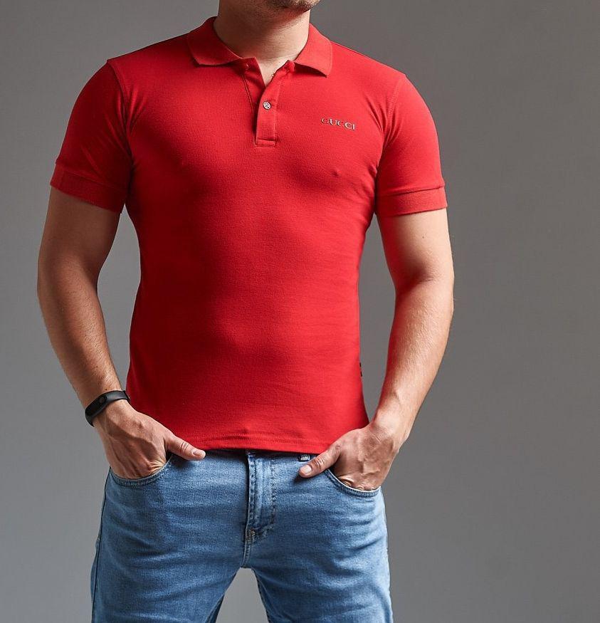 4643f25432c0 Футболка Поло мужская Gucci красная ( реплика)- купить не дорого в ...