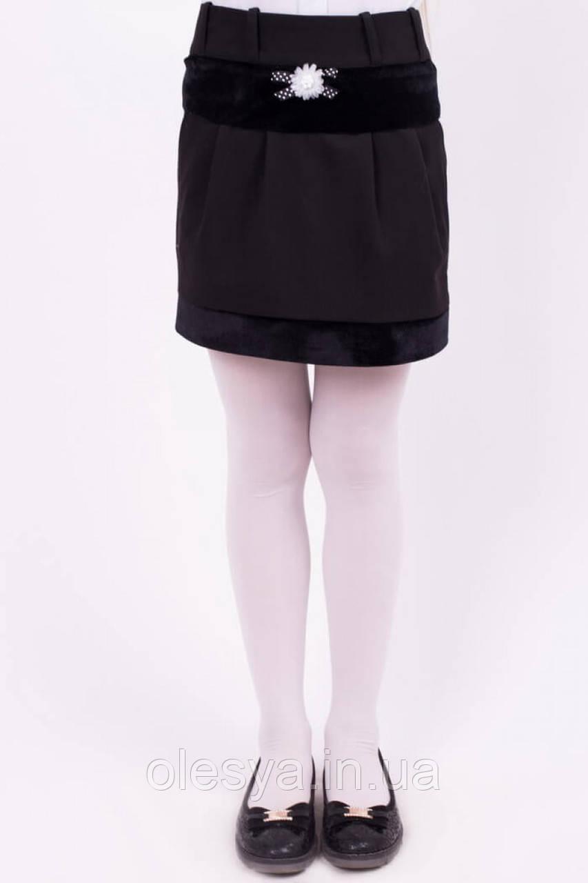 Стильная школьная юбка с бархатом Размеры 134 - 152
