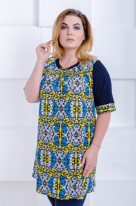Туника размер плюс Стефи желтый орнамент (58-64) - FaShop Женская одежда от 53d7cf63f19