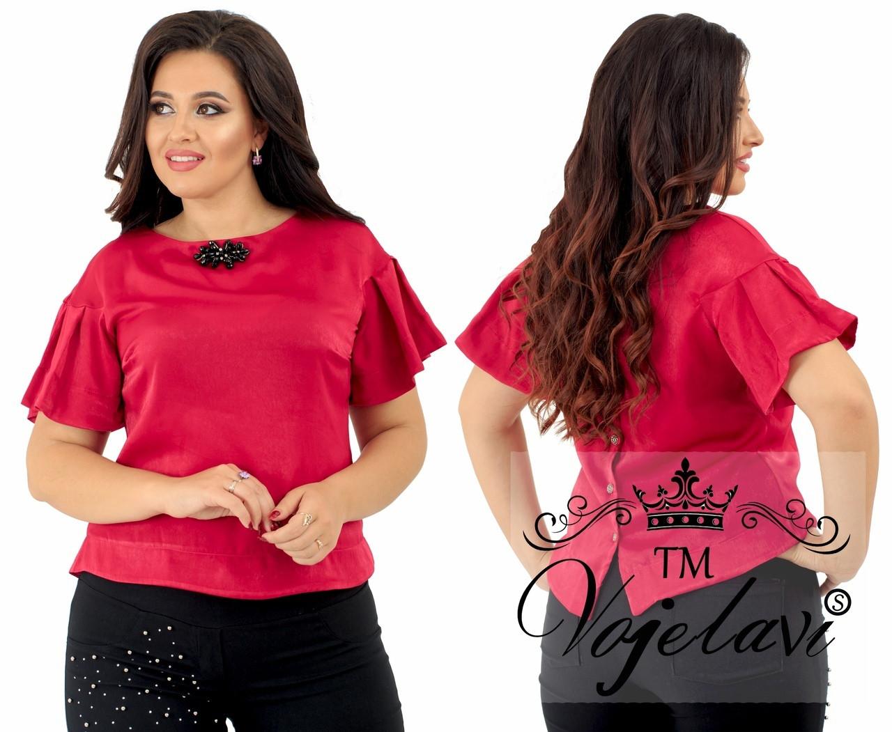 Элегантная женская блуза батальных размеров с брошкой