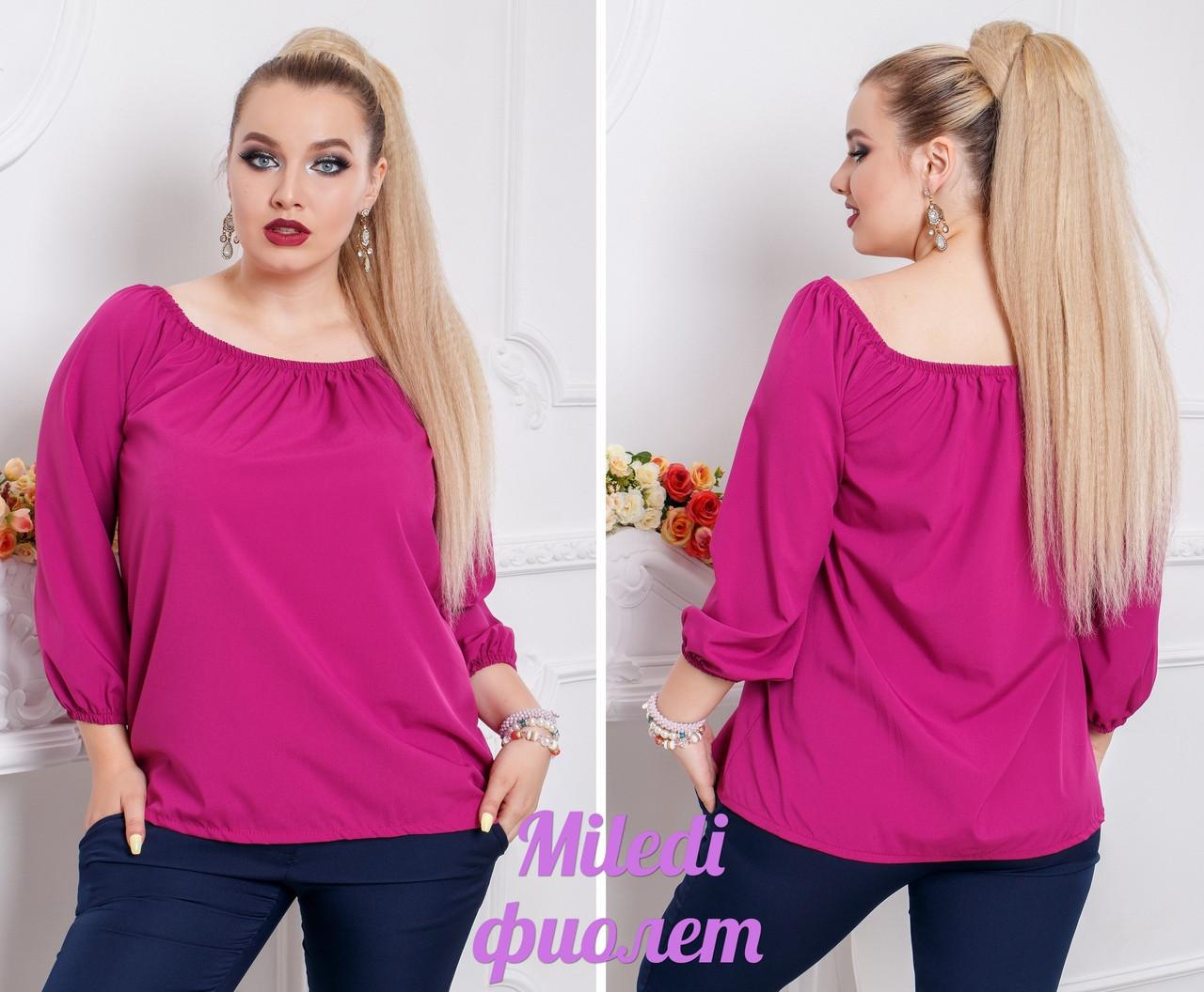 Легкая блуза с открытыми плечами и рукавоами воланами 48-56