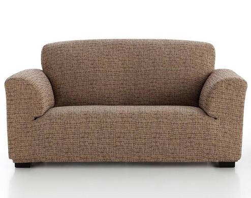 Чехол на диван 3-х местный натяжной Андреа Мокко Бежевый Горчичный, фото 2