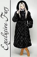 Женская шуба из искусственной норки, черный цвет №32