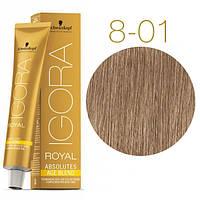 Schwarzkopf крем-краска для волос IGORA ROYAL Absolutes 100% Закрашивания седых волос 8-01 светло-русый нат