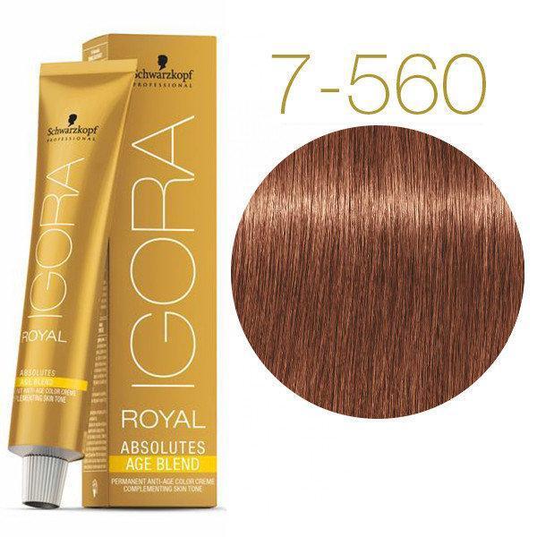 Schwarzkopf крем-краска для волос IGORA ROYAL Absolutes 100% Закрашивания седых волос 7-560 средне-русый золотисто-шоколадный