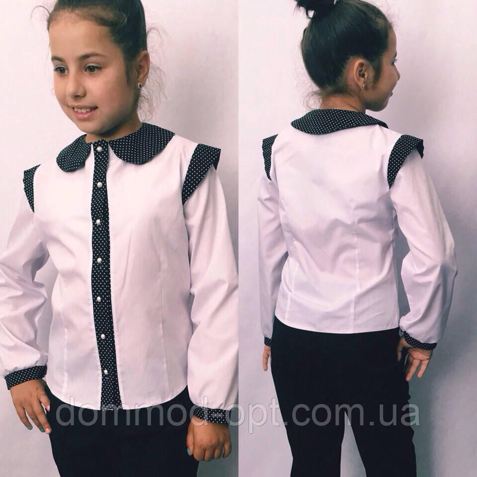 Дитяча блузка з коротким рукавом №721 (синя, чорна)