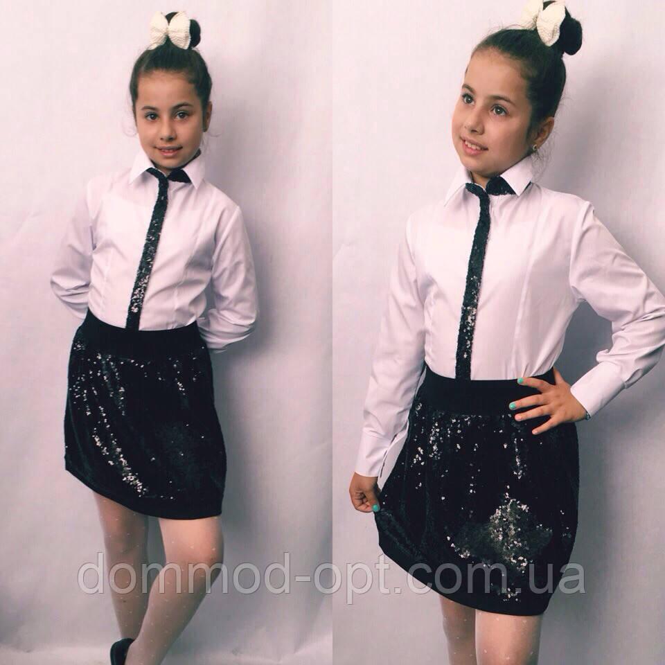 Детская юбка с пайеткой №722 (синяя, черная)