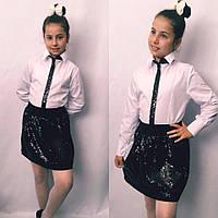 Детская юбка с пайеткой №722 (синяя, черная), фото 1
