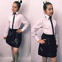 Детская блузка с пайеткой №723 (синяя, черная), фото 1