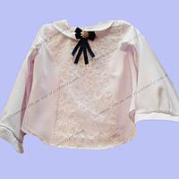 Блуза школьная для девочки с брошкой оптом