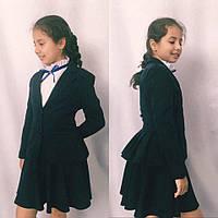 Подростковый школьный пиджак №703 (черный,синий), фото 1