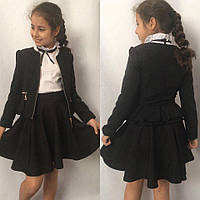 Детский школьный пиджак для девочек №696 (черный,синий), фото 1