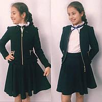 Подростковый школьный пиджак для девочек №697 (черный,синий), фото 1