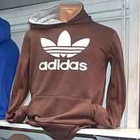 Коричневая теплая мужская толстовка Adidas