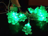 Оригинальная светодиодная гирлянда, 20 светящихся ёлочных игрушек, зелёные ёлочки / синие снеговики, 3,4 м