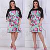 Платье больших размеров 48, 50, 52, 54, 56 с цветочным принтом из легкого атласа с кружевом   арт 237/3-126, фото 2