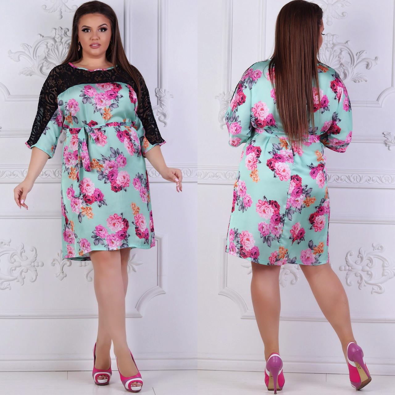 Платье больших размеров 48, 50, 52, 54, 56 с цветочным принтом из легкого атласа с кружевом   арт 237/3-126