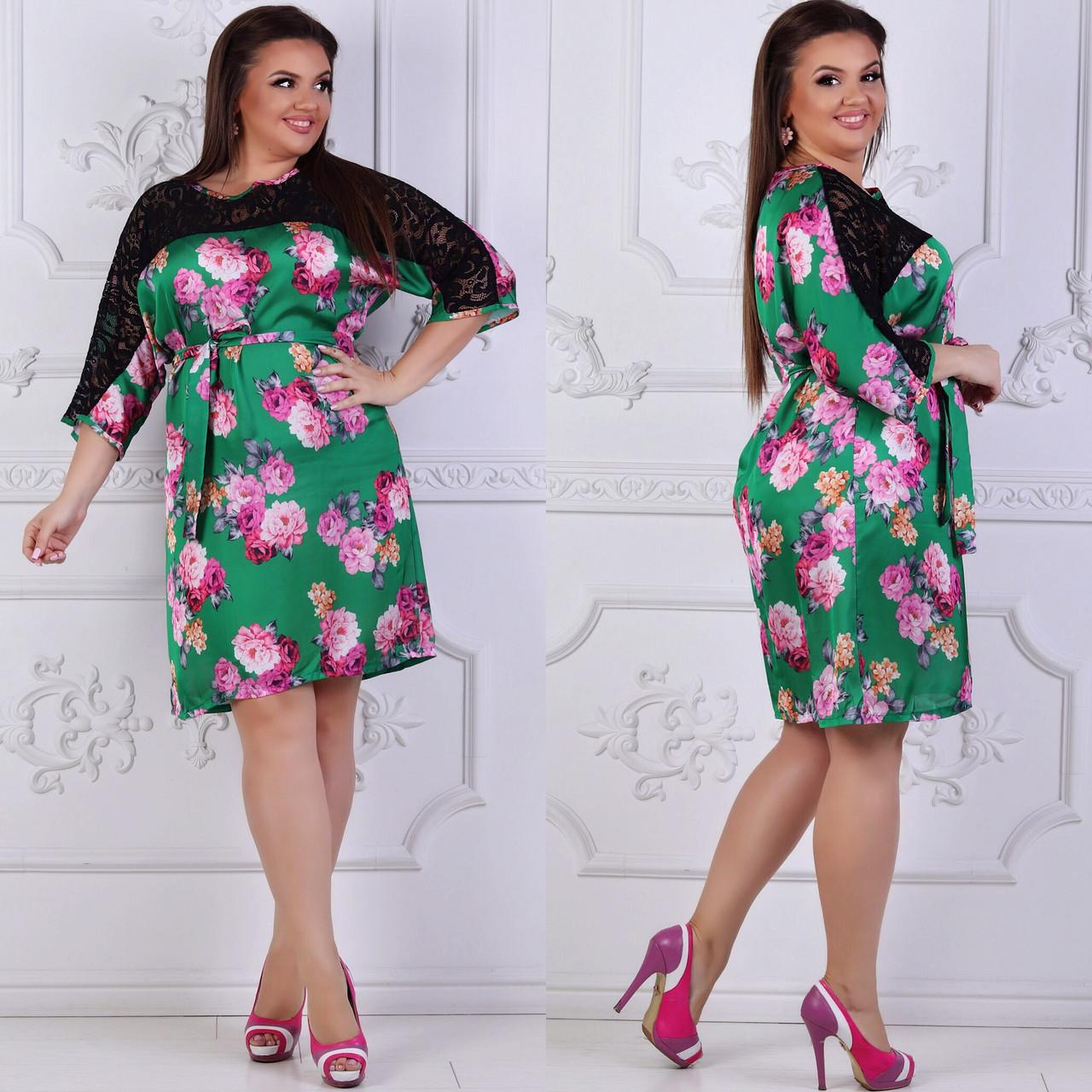 Платье больших размеров 48, 50, 52, 54, 56 с цветочным принтом из легкого атласа с кружевом   арт 239/3-126