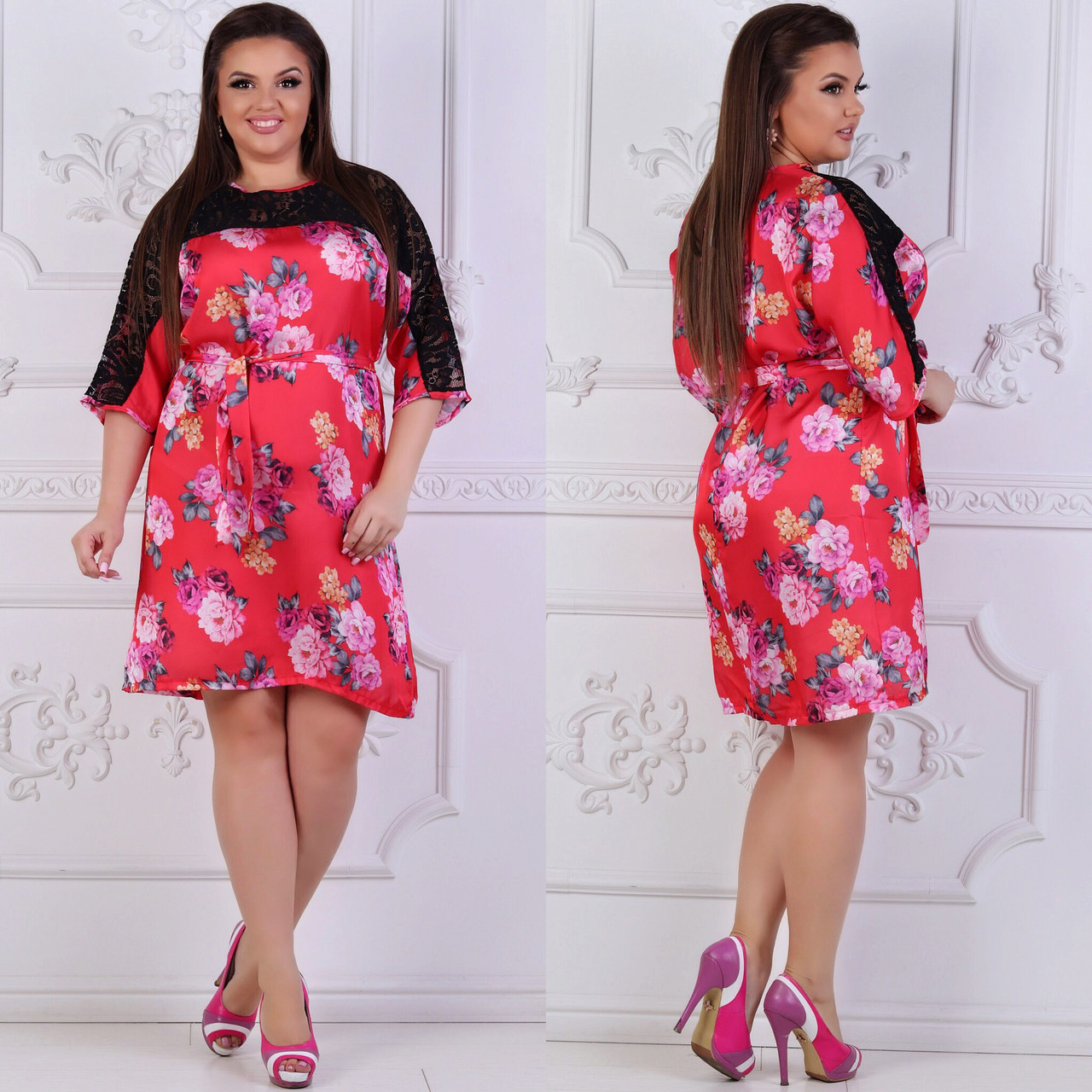 Платье больших размеров 48, 50, 52, 54, 56 с цветочным принтом из легкого атласа с кружевом   арт 240/3-126
