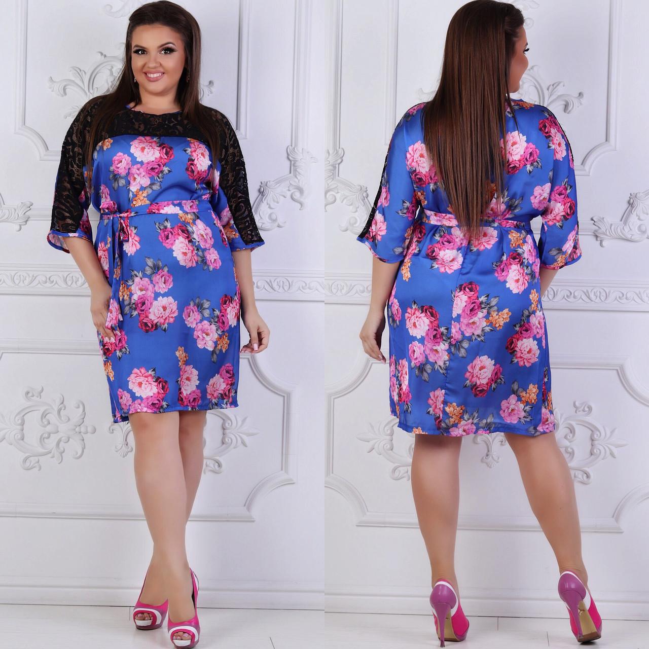Платье больших размеров 48, 50, 52, 54, 56 с цветочным принтом из легкого атласа с кружевом   арт 241/3-126
