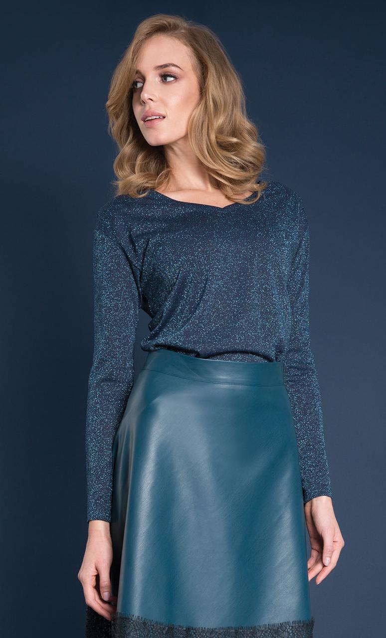 Женская блуза с люрексом Helene Zaps изумрудного цвета. Коллекция осень-зима